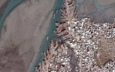 Aerial view of Salaya, Gujarat, the traditional home of wooden-boat (vahanvati) building