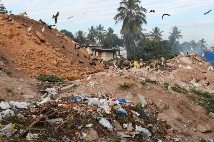 While villagers protest trash-dumping in Vilappilsala, waste piles up uncollected in the nearby city of Trivandrum.
