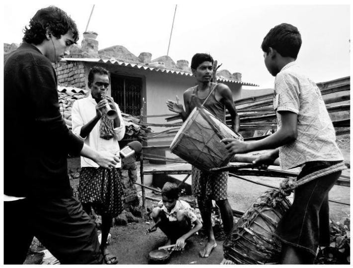 Producer Chris McGuinness recording local musicians in Goratikiri, Kashipur Orissa.